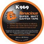 K969 Tenacious Matt Black Gaffer Tape 48mm x 30 metre
