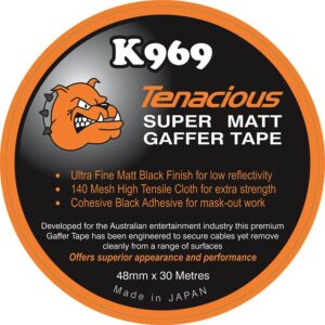 K969 Tenacious Matt Black Gaffer Tape 48mm x 30 metre