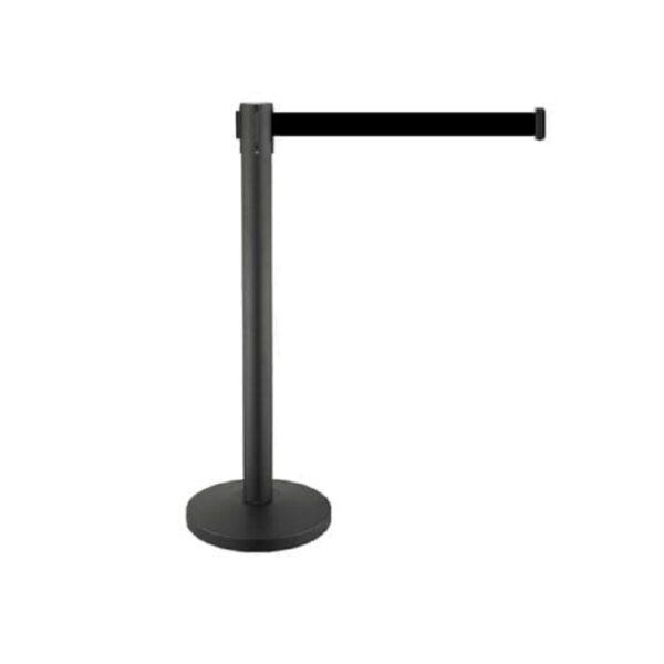 Belt_Barrier_Pole_Black_with_3_metre_Black_Belt